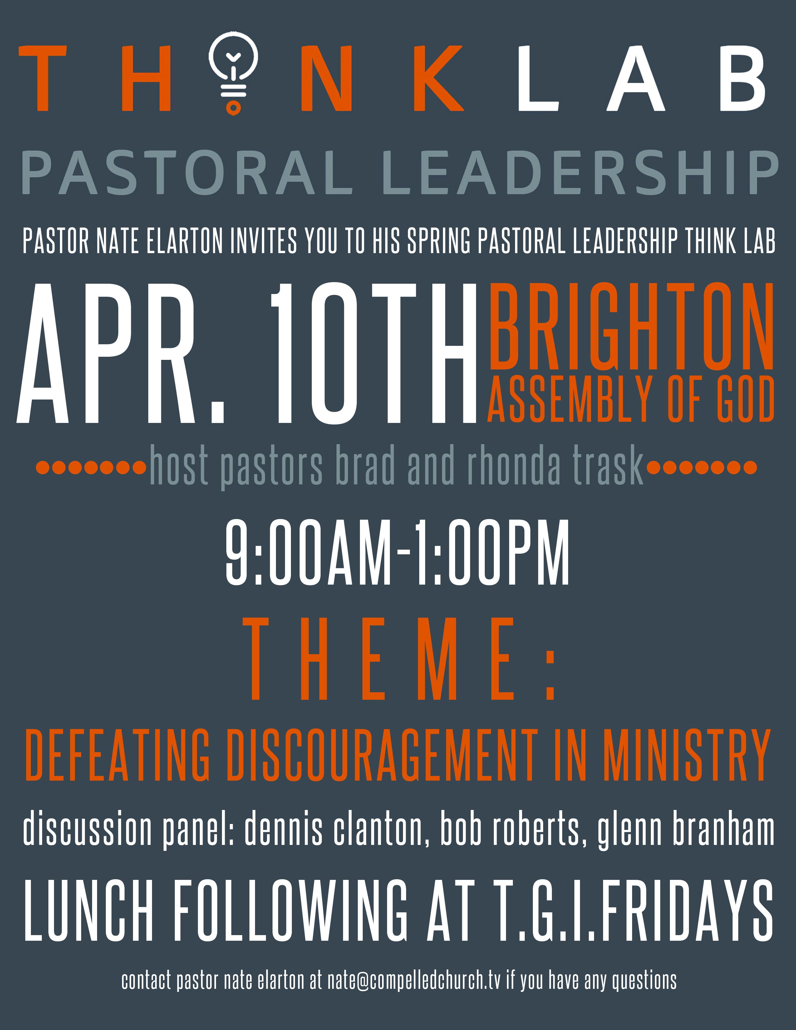 Pastoral Leadership Think Lab Coming up April 10th @Brighton A/G